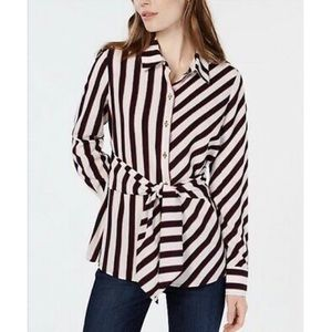 NWT Tommy Hilfiger Striped Tie-Front Blouse Shirt